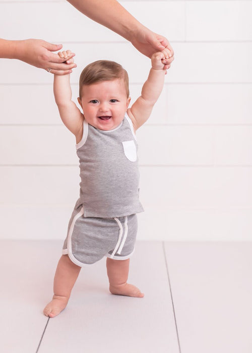 White Heather Track Shorts | lovedbaby - Nature Baby Outfitter