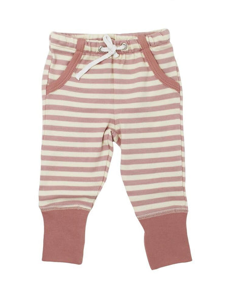 Mauve & Beige Stripe Joggers | Lovedbaby - Nature Baby Outfitter