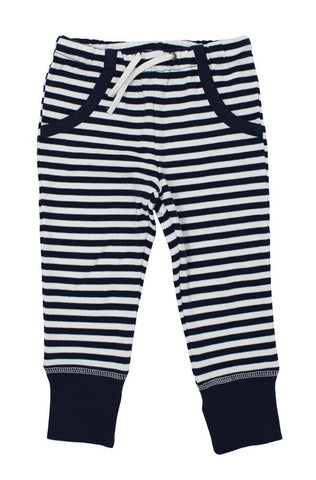 Navy & White Stripe Joggers | Lovedbaby - Nature Baby Outfitter