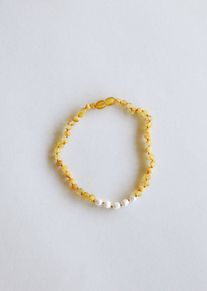 Raw Honey Amber + Pearls Necklace | Canyon Leaf