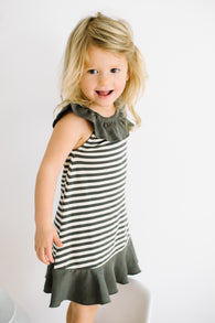 Grey & Beige Stripe Organic Ruffle Summer Dress | lovedbaby - Nature Baby Outfitter