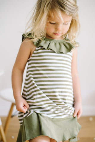 Sage & White Stripe Organic Ruffle Summer Dress | lovedbaby - Nature Baby Outfitter