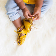 Mustard Yellow Twisted Leather Baby Sandal Moccasin | SoJo Moccs