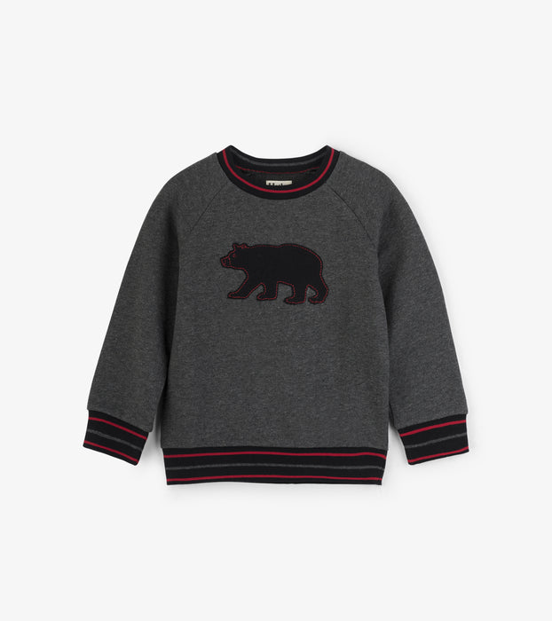 Charcoal Black Bear Hooded Pullover | Hatley