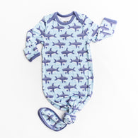 Sharks Bamboo Infant Knotted Gown | Little Sleepies