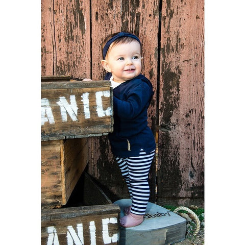 Navy & White Organic Leggings | Lovedbaby - Nature Baby Outfitter