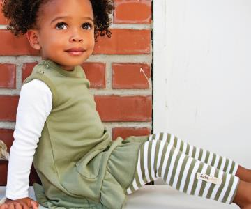 Sage Stripe Organic Leggings | Lovedbaby