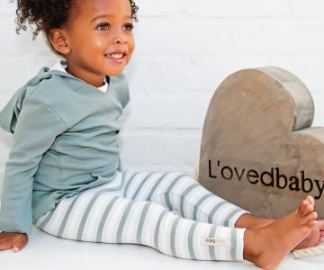 Seafoam Stripe Organic Leggings | Lovedbaby