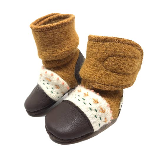 Golden Spruce Felted Wool Booties | Nooks Design