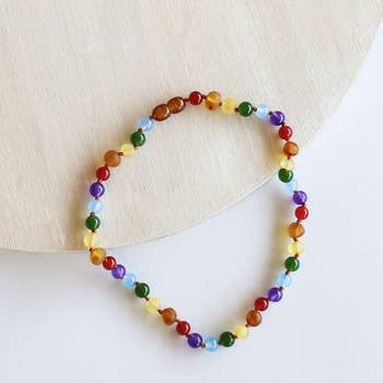 Raw Honey Baltic Amber & Rainbow Gemstone Necklace | Canyon Leaf