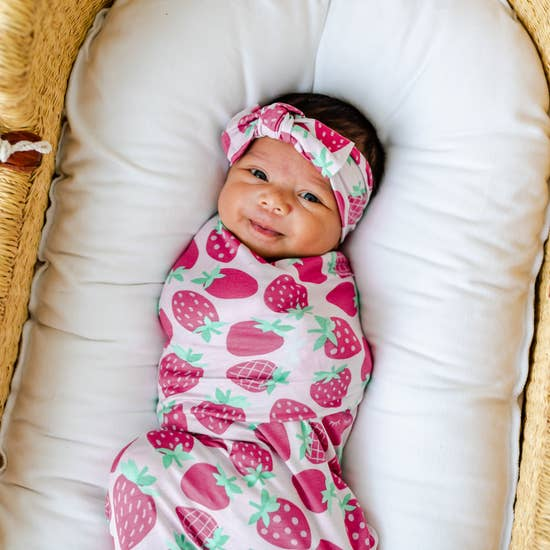 Strawberries Bamboo Swaddle & Headband Gift Set | Little Sleepies
