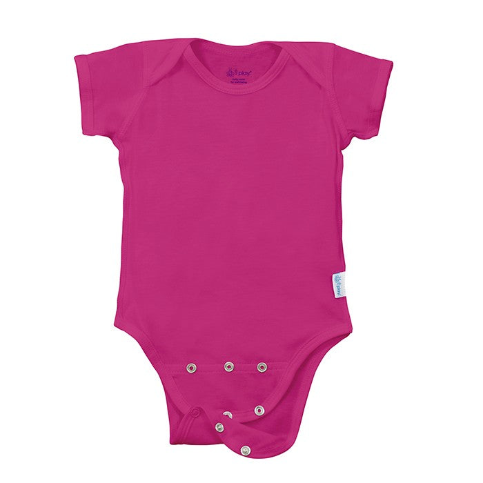 Hot Pink Short Sleeve Organic Cotton Adjustable Bodysuit | i Play
