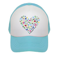 Teal Heart Trucker Hat | JP DOoDLES