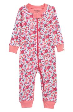 Pink Summer Gardens Organic Cotton Coverall Pajamas | Hatley
