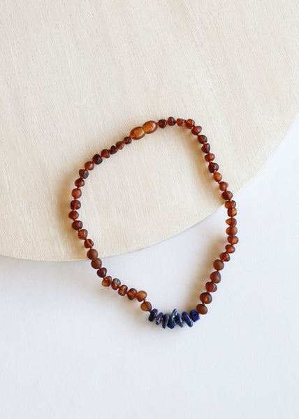 Raw Cognac Baltic Amber & Lapis Necklace | Canyon Leaf