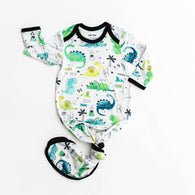 Blue/Green Dinosaurs Bamboo Infant Knotted Gown | Little Sleepies