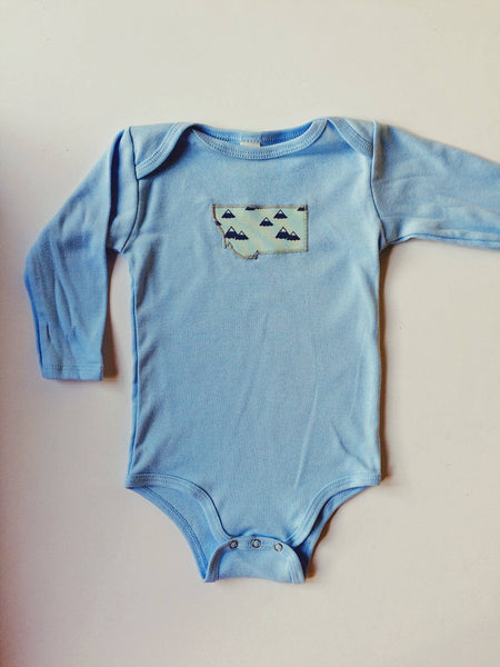 Montana Mountains Long Sleeve Baby Bodysuit | Vermont Tribe