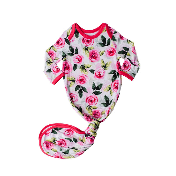 Roses Bamboo Infant Knotted Gown | Little Sleepies