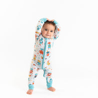 Robots Bamboo Convertible Romper/Sleeper | Little Sleepies
