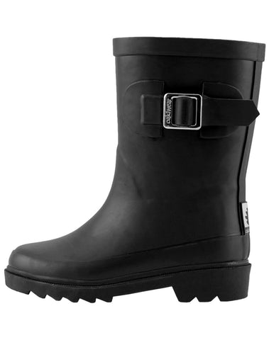 Midnight Black Rubber Rain Boots with Buckle | Oaki - Nature Baby Outfitter
