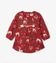 Red Mistletoe Deer Baby Party Dress | Hatley