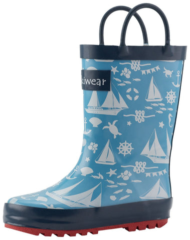 Nautical Sailing Waterproof Rubber Rain Boots With Easy-on Handles | Oaki - Nature Baby Outfitter