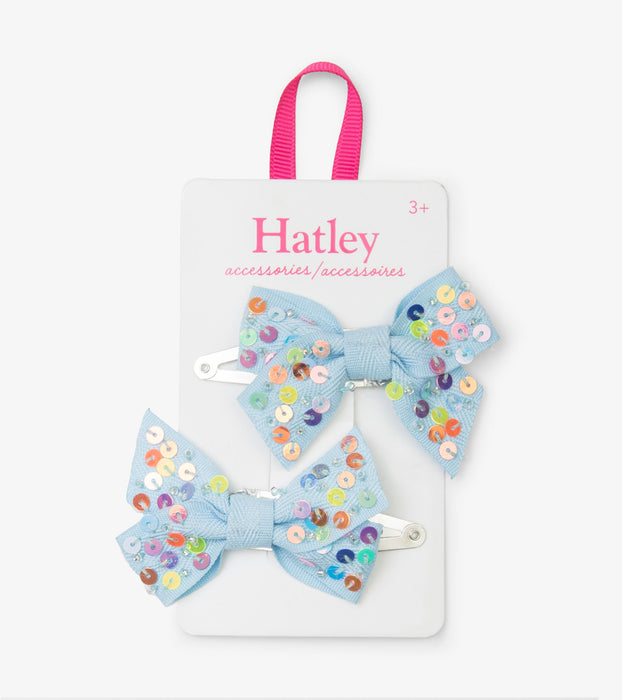 Chambray Sequin Bows Hair Clips | Hatley