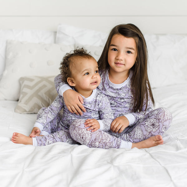 Peonies Two-Piece Bamboo Pajama Set | Little Sleepies