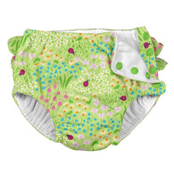 Green Flower Patch Ruffle Snap Swim Diaper | i Play