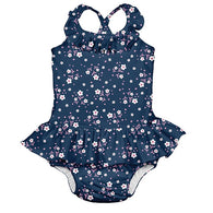 Navy Posies One Piece Ruffle Swimsuit w/ Built-in Reusable Absorbent Swim Dipaer - Nature Baby Outfitter