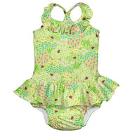 Green Flower Patch One Piece Ruffle Swimsuit w/ Swim Dipaer | i Play