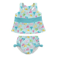 Sailboat Tankini Bow Snap Reusable Absorbant Swimsuit - Nature Baby Outfitter