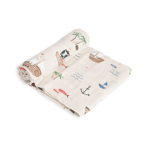 Treasure Map Cotton Swaddle Blanket | Little Unicorn