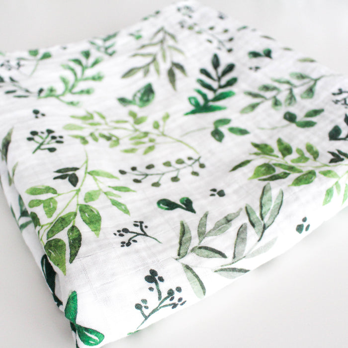 Farmhouse Foliage Watercolor Swaddle Blanket | Chelsea and Marbles