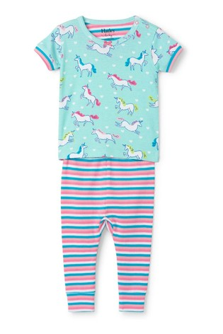 Blue Prancing Unicorns Organic Cotton Shorts Pajama | Hatley