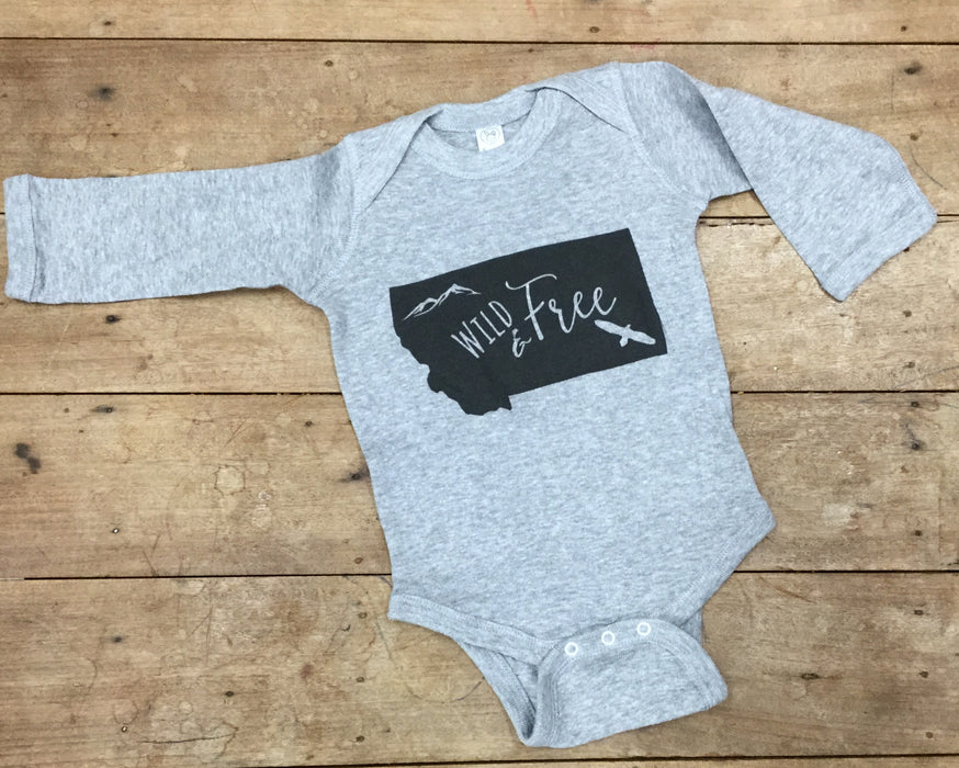 Wild And Free Long Sleeve Onesie| Nature Baby Outfitter