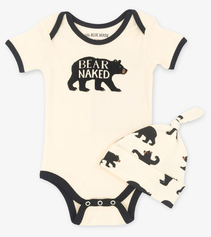 Black Bear Bodysuit & Hat | Little Blue House by Hatley