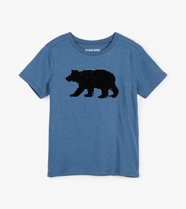 Blue Bear Flip Sequin Tee | Little Blue House by Hatley