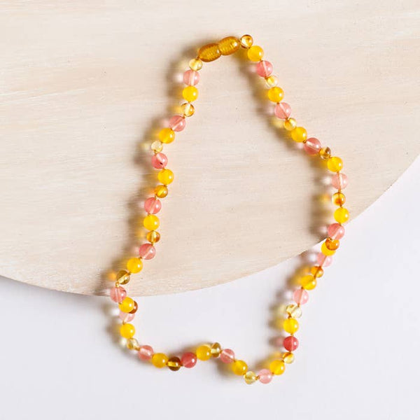Polished Baltic Amber & Gemstone Necklace | Canyon Leaf
