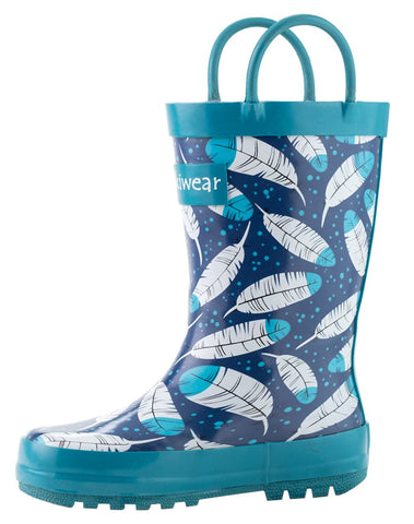 Feathers Waterproof Rubber Rain Boots With Easy-on Handles | Oaki - Nature Baby Outfitter