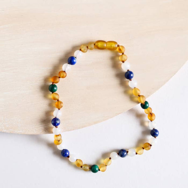 Raw Baltic Amber Malachite & Lapis Necklace | Canyon Leaf