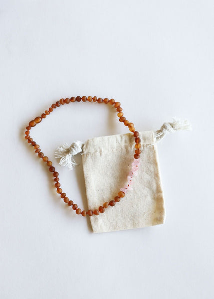 Raw Cognac Baltic Amber & Raw Rose Quartz Necklace | Canyon Leaf