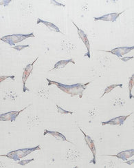 Narwhal Cotton Muslin Crib Sheet by Little Unicorn