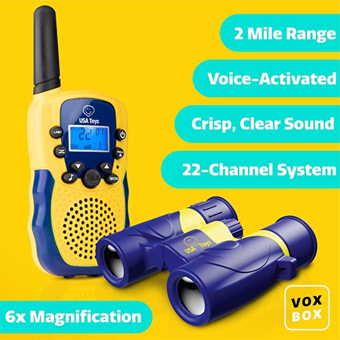 Explorer  Pack Yellow And Blue Vox Box Walkie Talkies and Binoculars | USA Toyz