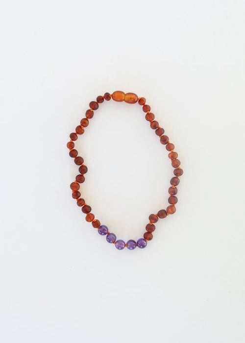 Raw Cognac Baltic Amber & Polished Amethyst Necklace | Canyon Leaf