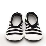 Black & Stripe Flat Baby Shoes | Komuello
