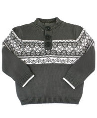 Charcoal Fair Isle Sweater | Rugged Butts - Nature Baby Outfitter