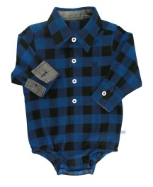 Sapphire And Black Buffalo Plaid Button-Up Bodysuit | Rugged Butts