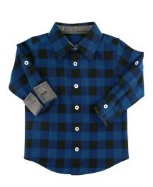 Sapphire And Black Buffalo Plaid Button Down Shirt | Rugged Butts