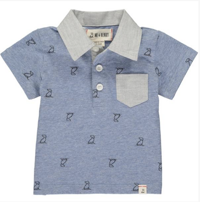 Blue Henry Dog Print Polo Shirt | Me & Henry